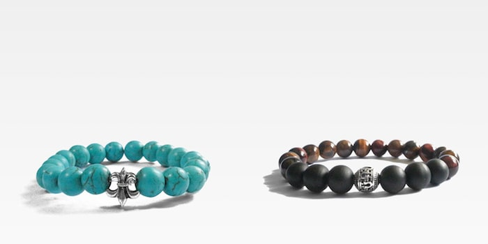 City State Haberdashery's Turquoise Howlite Bracelet with Pewter Cross (S$15), Mixed Tiger Eye Bracelet with Frosted Onyx and Pewter Ball (S$20)