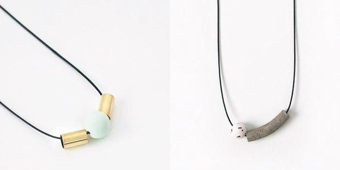 Knack Knack's Tab Necklace in Copper (S$35), Kip Necklace in Grey Granite (S$39)